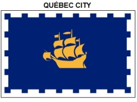 The flag of Québec City, most closely associated with the Québec City regional accent.