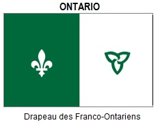 Official flag of Ontario Francophones and Francophiles - often seen flying province-wide in front of government institutions and by private individuals.