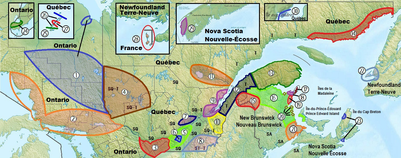 Our 32 accents series canadian french accents overview post 1 of each number on the map represents an area with unique accent or at the minimum traits of a unique accent the accompanying legend is below click to gumiabroncs Images