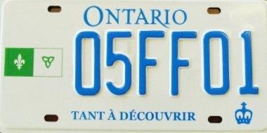 Another version of Ontario's government issued French license plates - available to anyone who wants them. I've seen this version more often in the Ottawa / Eastern Ontario region.